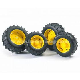 1/16 Accessory Set, Dual Wheels, Yellow rims