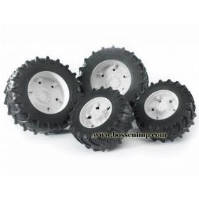 1/16 Accessory Dual Wheels yellow for 3000 Series Bruder Trac