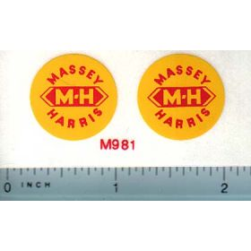 Decal Massey Harris Logo Red on Yellow 3/4""