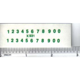 Decal Number Set - Green 3/32 x 1/4