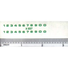 Decal Number Set - Green 3/32 x 3/32