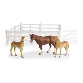 1/16 Big Farm Fence with horses Set