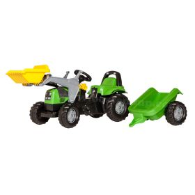 Deuts-Fahr AgroPlus 420 Plastic Pedal Tractor w/ Front Loader and Trailer