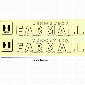Decal Farmall H or M Pedal Tractor set Water Transfer