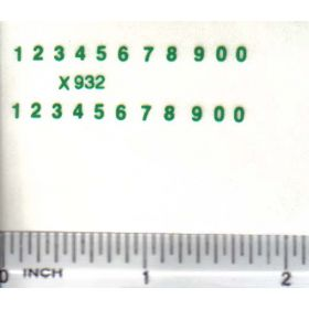 Decal Number Set - Green 1/16in. x 3/32in.