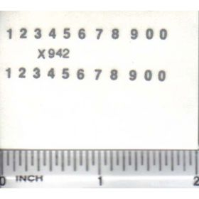 Decal Number Set - Silver 1/16in. x 3/32in.