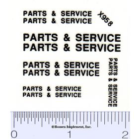 Decal 1/16 Parts & Service Set - Black