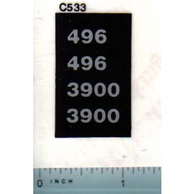 Decal 1/16 Case IH 496, 3900 Model Numbers (silver)