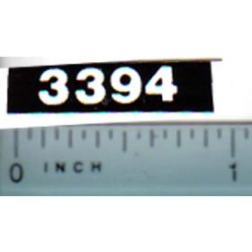 Decal 1/16 Case 3394 Model Numbers (white on black)