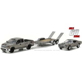 1/64 Ford F-150 2015 w/ Flatbed Trailer & 1967 Ford Mustang