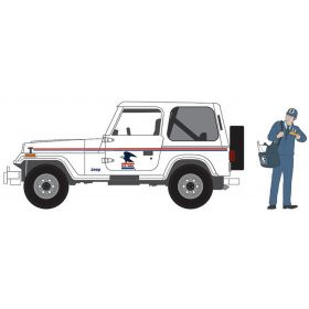 1/64 Jeep Wrangler 1991 United States Postal Service w/ USPS Mail Carrier