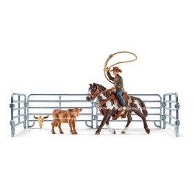 1/16 Horse Team Roping with cowboy set
