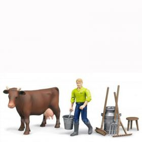 1/16 Cow with Man and milking accessories