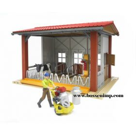 1/16 Dairy Barn with milking equipment cow & farmer