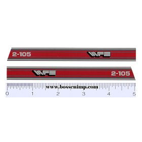Decal 1/16 White 2-105 Hood Stripes red