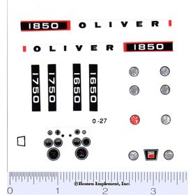 Decal 1/16 Oliver 1650, 1750 or 1850 Set with Dash & Lights