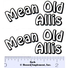Decal 1/16 Mean Old Allis Decals (White, Black on Clear) (Pair)