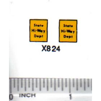 Decal 1/64 State Hi-Way Dept - Yellow, Black