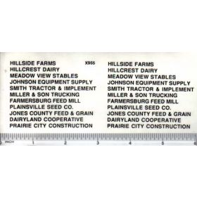 Decal Ag Businesses Set - Black 1/8 inch tall