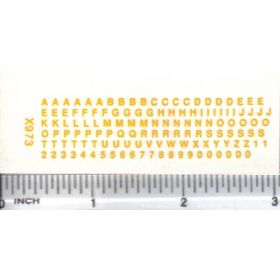 Decal Alpha/Numerical Set - Yellow 1/16 in. x 1/16 in.