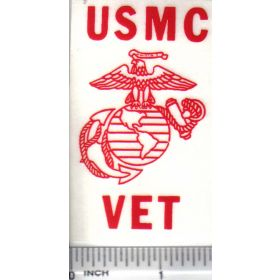 Decal 1/16 USMC Vet - Red on Clear