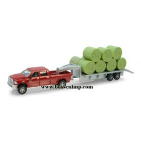 1/64 Dodge Pickup w/Hay Bales on Flatbed Trailer