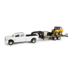 1/16 Big Farm Dodge Ram 3500 dually with JD skid loader & 5th wheel flatbed trailer