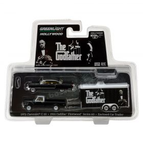 1/64 Chevrolet C-10 1972 w/Enclosed Car Hauler & 1955 Cadillac