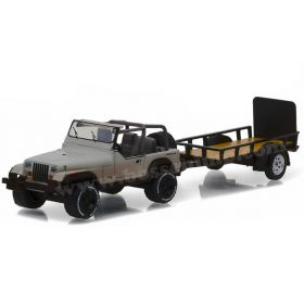 1/64 Jeep Wrangler YJ with utility trailer and zombies