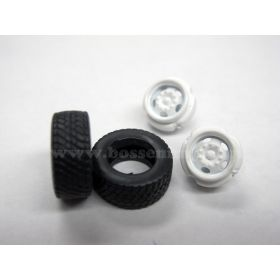 1/64 Truck Tires and rims Front Super single Budd 5 hole rim