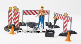 1/16 Accessory Set Construction Site Barricades w/man
