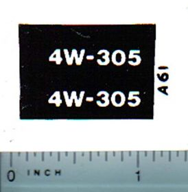 Decal 1/16 Allis Chalmers 4W-305 Model Numbers (white on black