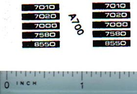 Decal 1/64 Allis Chalmers 7000, 7010, 7020, 7550, 7580 Model Numbers