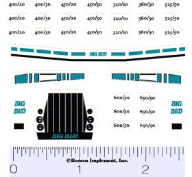Decal 1/64 Big Bud 400/20 - 525/50 Set (Bafus Blue)