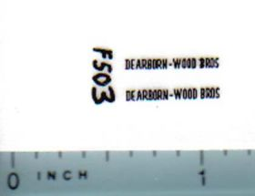 Decal 1/64 Dearborn-Wood Bros (black)