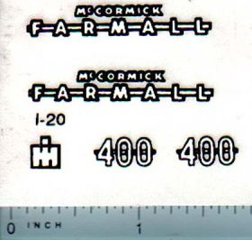 Decal 1/16 Farmall 400 Set (white & black, Ertl)