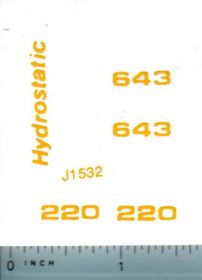 Decal 1/16 John Deere Combine 220 or 643 Hydrostatic