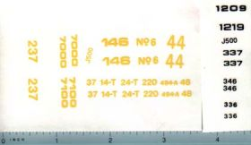 Decal 1/16 John Deere Implement Complete Model Number Set