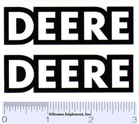 Decal Deere 1/08 scale (white w/black outline)