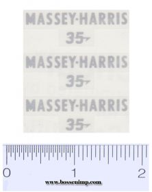 Decal 1/16 Massey Harris Combine 35 Silver (3)