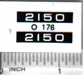Decal 1/16 Oliver 2150 Model Numbers