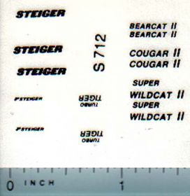 Decal 1/64 Steiger Tiger, Cougar, Bearcat, Wildcat Set (blk)