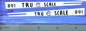 Decal 1/16 Tru Scale 891 Hood Stripes white