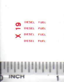 Decal Diesel Fuel - Red 3/8 inch