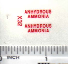 Decal 1/64 Anhydrous Ammonia - Red on Clear