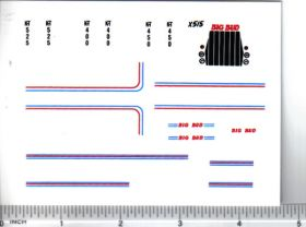 Decal 1/64 Big Bud KT Set (Blue & Red Stripes)