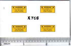 Decal 1/16 WARNING - Yellow