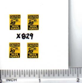 Decal 1/64 Caution Wide Turns