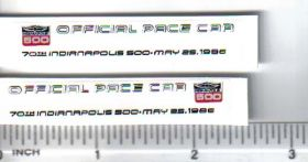Decal 1/18 Indy 500 Official Pace Car - 1986