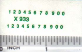 Decal Number Set - Green 1/16in. x 1/32in.